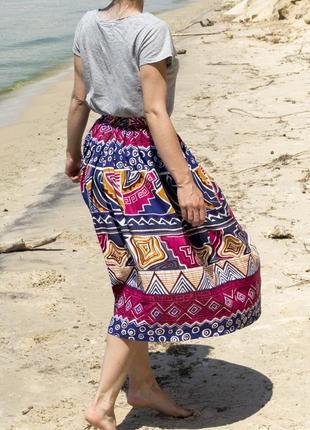 Юбка с орнаментом. юбка миди. цветная юбка. розовая юбка. пышная юбка.