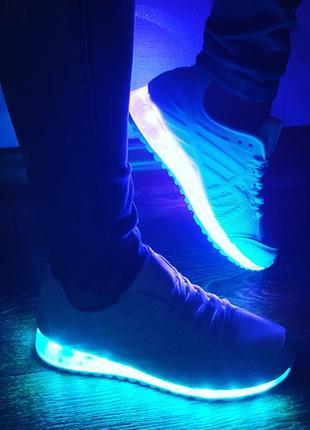 Светящиеся кроссовки с usb зарядом 11 режимов