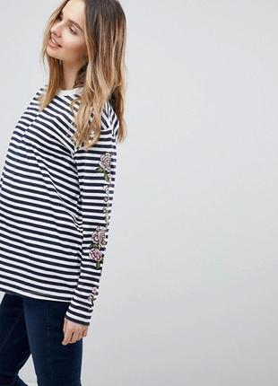 Свободный полосатый лонгслив/топ / футболка с длинным рукавом и цветочной вышивкой asos