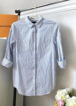 Стильная рубашка в голубую полоску lands end