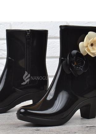 🌈резиновые сапоги женские черные на каблуке резиновые сапоги ботинки