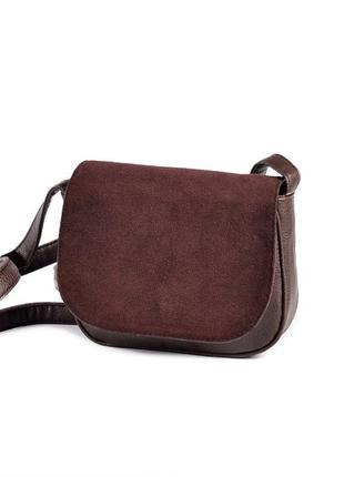 Коричневая маленькая замшевая сумка через плечо кросс боди