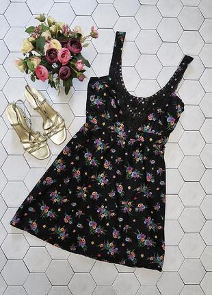Легкое платье - сарафан в цветочный принт с вышивкой бисером red herring