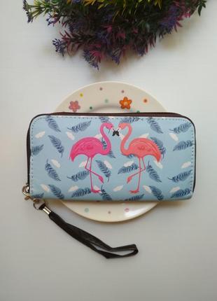 Вместительный кошелек, фламинго