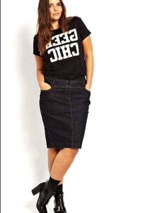 Джинсовая черная юбка карандаш oggi xs 34