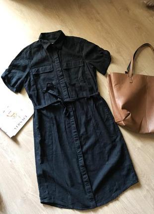Льняное платье ,лен ,вискоза ,чёрное l