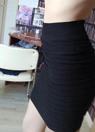 Модная мини юбка с завышенной талией