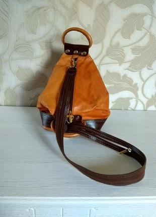 Кожаный мини рюкзачок5 фото