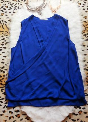 Новая синяя блуза на запах большой размер плюс сайз батал электрик вырез декольте