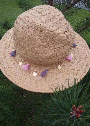 Трендовая плетеная шляпа c кисточками, соломенная шляпа с цветной отделкой