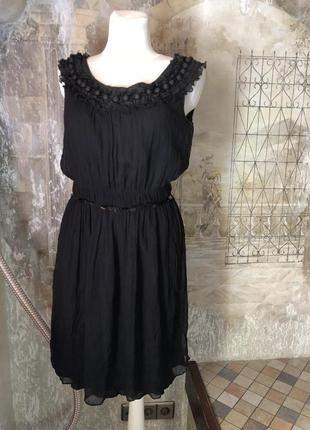 Платье чёрное moschino, шифон на подкладке без рукава