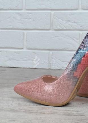 Туфли женские лодочки на шпильке розовые перламутр splashes of champagne4 фото