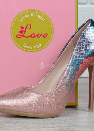 Туфли женские лодочки на шпильке розовые перламутр splashes of champagne5 фото