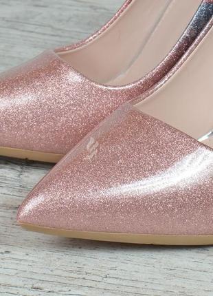 Туфли женские лодочки на шпильке розовые перламутр splashes of champagne2 фото