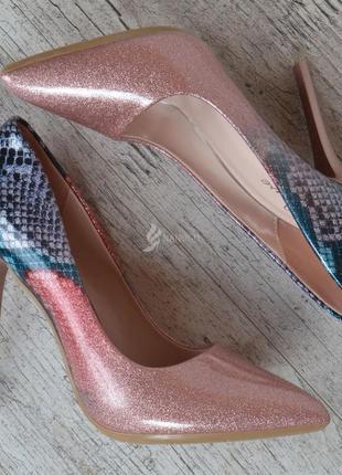 Туфли женские лодочки на шпильке розовые перламутр splashes of champagne