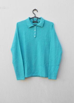 Бирюзовый 100% кашемировый свитер поло с длинным рукавом