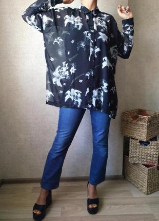 Новая блузка рубашка широкая бохо шик широкого кроя оверсайз от s до xl