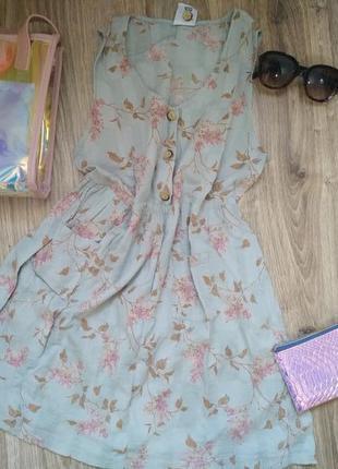 Легкое, простое платье,  сарафан,  халат , принт,  цветы, натуральное