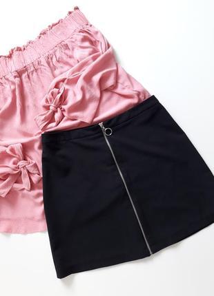 Трендовая черная юбка на молнии рр8