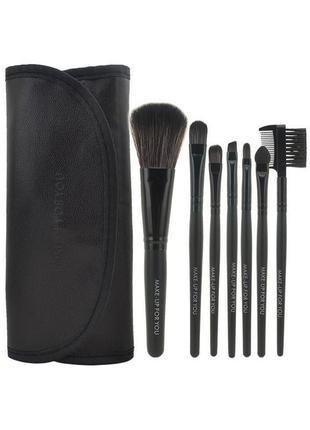 Акция ♥ кисти для макияжа набор 7 шт в футляре make-up for you black