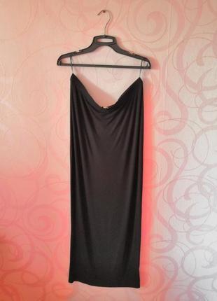 Черная юбка-макси, большой размер, длинная черная юбка, трикотажная юбка