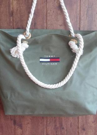 Пляжная сумка с канатными ручками. цвет оливка.
