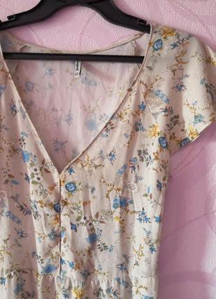 Нежное платье с цветочным принтом, легкое платье на пуговицах, платье в бельевом стиле