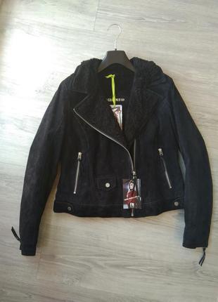 Новая утеплённая куртка косуха freaky nation, германия. l-xl   100% замша