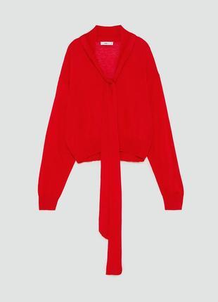 Красный свитер с завязкой на горле zara
