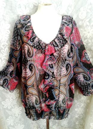 Полупрозрачная шифоновая блузочка, l- 2xl.