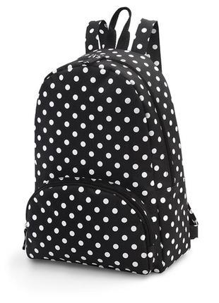 Рюкзак в горошек черный белый большой тряпочный вместительный