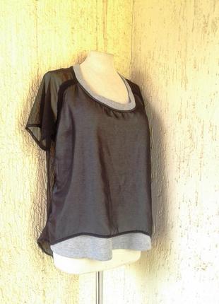 Шифоновая черная блузка на катоновой серой основе, s- l.