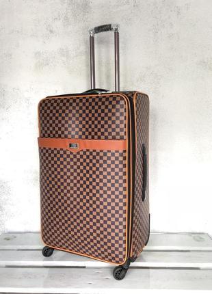 Акция! большой чемодан текстильный из эко кожи 4 колеса валіза велика