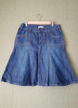 🌿 винтажная джинсовая юбка миди 🌿 юбка трапеция