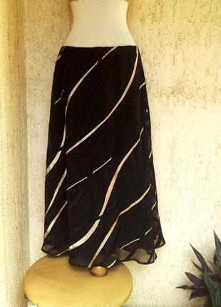 Шифоновая вискозная юбка черная, 3xl.