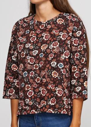 Цветочная свободная кофта свитшот с рукавом три четверти pull&bear