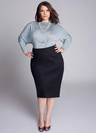 Шикарная базовая темно синяя юбка миди карандаш со шлицей большой размер only
