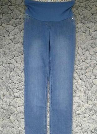 Прямые хлопковые джинсы для беременных с регулируемым бандажным поясом