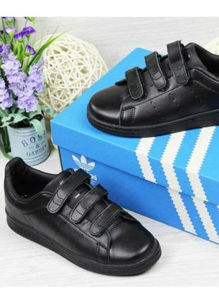 Женские кроссовки adidas stan smith липучка чёрные с золотом