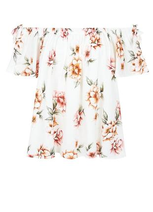 New look блуза в цветочный принт с открытыми плечами