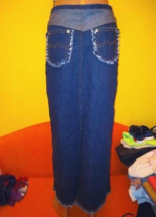 Мегатрендовая джинсовая юбка макси
