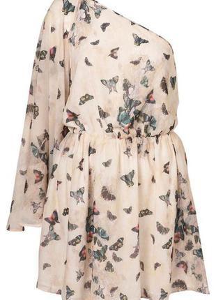 """Нежное мини платье - туника с бабочками topshop """"летучая мышь"""" на одно плечо"""