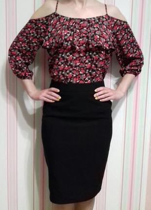Блуза с открытыми плечами в цветочный принт оверсайз