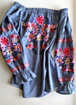 Женская нарядная блуза с вышивкой вышиванка  рюшами яркая  испания s m l xl