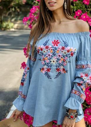Женская нарядная блуза с вышивкой вышиванка  рюшами яркая  испания s m l xl3