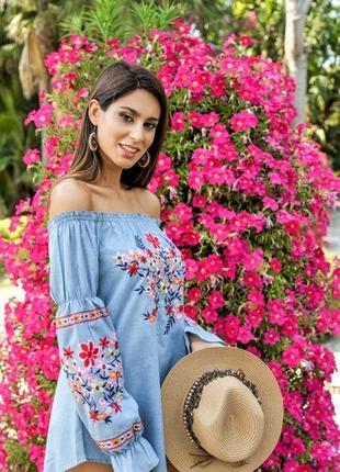 Женская нарядная блуза с вышивкой вышиванка  рюшами яркая  испания s m l xl4