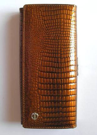 Большой кожаный лаковый кошелек gold, 100% натуральная кожа, доставка бесплатно