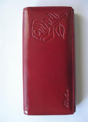 Большой кожаный кошелек бордовая роза, 100% натуральная кожа, доставка бесплатно
