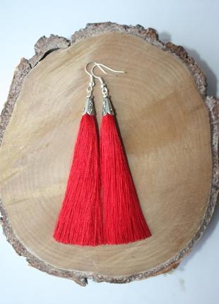 Серьги серёжки кисти кисточки красные нити модные длинные