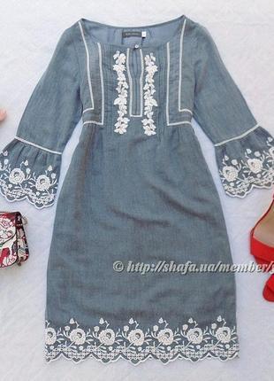 Очень красивое платье с вышивкой mint velvet, размер 6 (см. замеры)